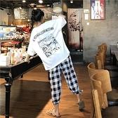 套裝 印花短袖T恤女夏新款韓版寬松大碼格子休閑褲時尚兩件套裝女1F151-A韓依紡