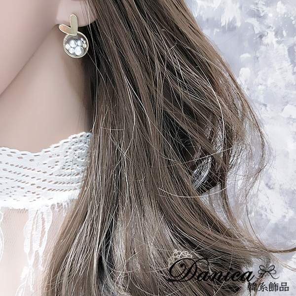 現貨不用等 韓國女神溫柔氣質愛心珍珠水鑽透明壓克力925銀針耳環 S93428 批發價 Danica 韓系飾品
