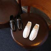 男童單鞋鉚釘皮鞋休閒豆豆鞋
