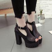 時尚粗跟魚嘴涼鞋新款單鞋百搭防水台超高跟女涼拖鞋