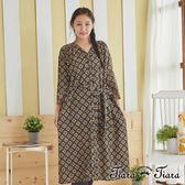 【Tiara Tiara】百貨同步 神秘民俗風花紋綁帶長袖洋裝(黑) 預購
