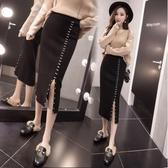 新款高腰中長款毛線針織裙半身裙女裝開叉一步裙包臀裙 三角衣櫃
