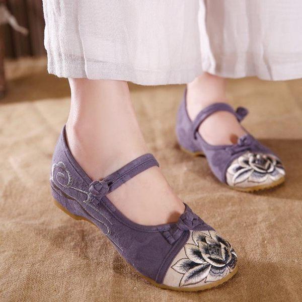 低跟鞋3cm 民族風漢服鞋子女 古風內增高跟繡花鞋禪修茶藝鞋舒適百搭媽媽布鞋