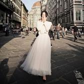 半身裙中長款 新品夏新款網紗半身裙女高腰中長款a字裙百褶裙黑色紗裙蓬蓬裙