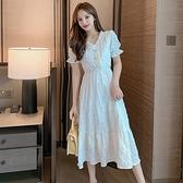 2020夏新款流行女神范裙子桔梗法式復古氣質仙女小香風白色連身裙