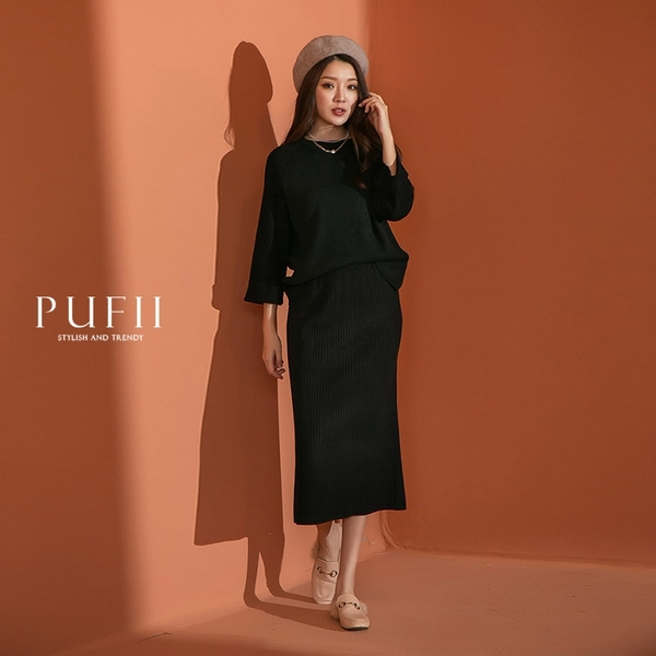 PUFII-中長裙 直坑條開衩針織中長裙-1103 現+預 秋【CP19068】