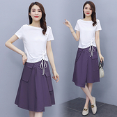兩件式洋裝棉麻連身裙女套裝裙M-3XL休閑大碼套裝裙小個子兩件套裙子T103-B.5109 胖丫