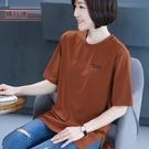 夏裝圓領中長款打底衫寬鬆大碼刺繡女士上衣t恤五分袖半截袖春裝【快速出貨】