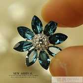 水晶花朵韓國可愛領針女復領扣襯衫衣領夾胸花別針  母親節特惠