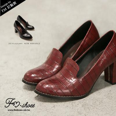 跟鞋.復古風鱷魚皮紋高跟鞋-FM時尚美鞋-訂製款.early