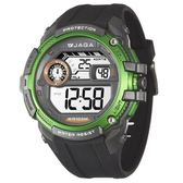 JAGA 捷卡 帥氣 冷光照明 多功能電子錶 綠黑色 男錶 軍錶 學生錶 運動錶 防水手錶 M1076-AF