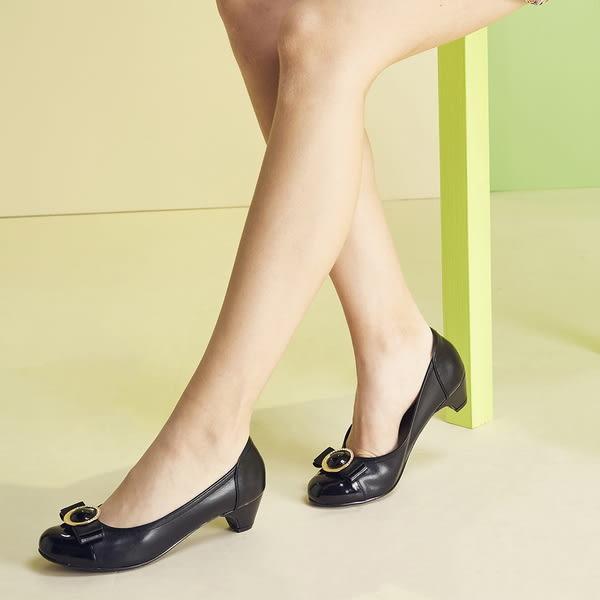 ★2017秋冬★Keeley Ann質感拼接~土星環蝴蝶結OL真皮中跟娃娃鞋(黑色)