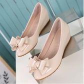 坡跟單鞋春季2018新款韓版百搭內增高豆豆鞋中跟淑女夏平底鞋女鞋 時尚潮流