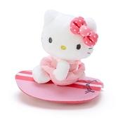 〔小禮堂〕Hello Kitty 絨毛玩偶娃娃造型迴力車玩具《粉白》擺飾.發條玩具 4901610-83382