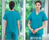 洗手衣女短袖醫生服純棉套裝手術衣護士手術室隔離衣男刷手長袖『橙子精品』