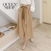 Queen Shop【04060303】綁帶設計開衩褲裙 兩色售*現+預*