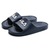 FILA (偏小建議大半號) 深藍 白紅Logo 防水 拖鞋 (布魯克林) 4S355Q331