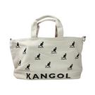 KANGOL 帆布側背袋 大容量 白色 滿版印花 9025300601 noA60
