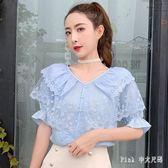 Pink中大尺碼蕾絲上衣 很仙的上衣洋氣襯衣2019夏季新款蕾絲拼接荷葉邊短袖雪紡衫女 nm21360