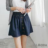 OB嚴選《CA529-》經典牛仔藍X金屬排釦設計短裙--適 S~XL