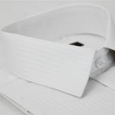 【金‧安德森】白色寬暗紋窄版短袖襯衫