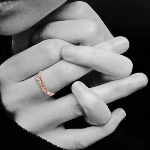 ides愛蒂思 浪漫結系列設計款鑽石戒指/線戒尾戒(玫瑰金)