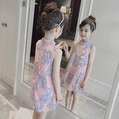 女童旗袍碎花蕾絲連身裙