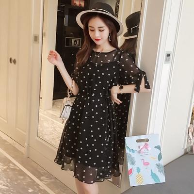 洋裝大碼連身裙中長款波點連身裙顯瘦洋氣收腰小黑裙潮1F-149 胖妹大碼女裝