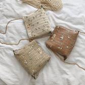 編織包 草編小包包女包新款洋氣少女蕾絲鏈條斜背時尚百搭編織水桶包 瑪麗蘇