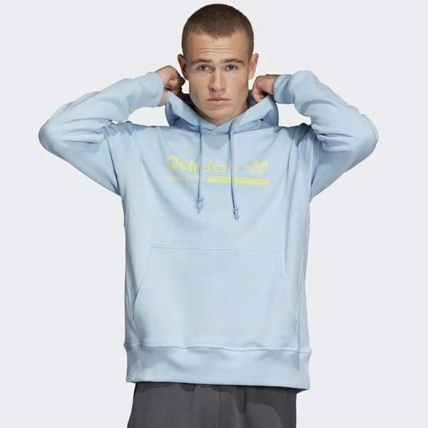 Adidas Originals Kvl Grp 粉籃 蘋果綠 英文logo 長袖 帽T 男(布魯克林) 2019/1月 DV1941