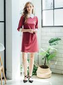 秋裝上市[H2O]立體花領片袖口蕾絲裝飾八分袖針織洋裝 - 藍/莓粉色 #8664005