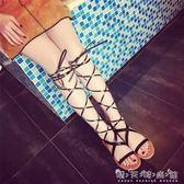 新款高筒交叉綁帶鏤空繫帶平底涼鞋女露趾長高筒羅馬涼靴潮 晴天時尚館