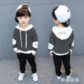 兒童套裝2018新款條紋衛衣男童兩件套潮中大尺碼zzy5479『時尚玩家』