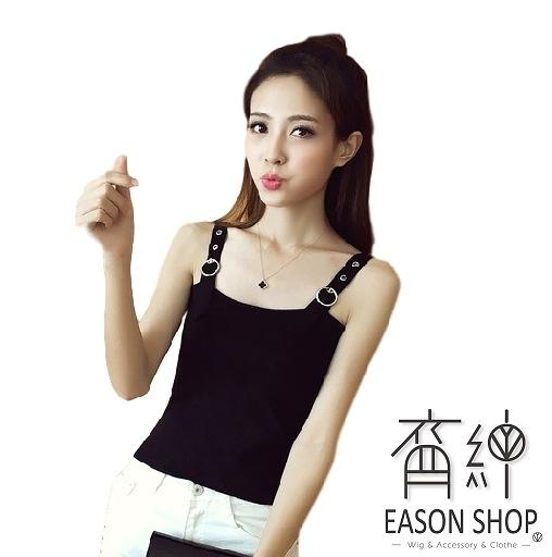 EASON SHOP(GW6649)韓版坑條紋皮帶釦短版露肚臍圓鐵圈可調式肩帶吊帶針織背心女上衣彈力貼身內搭衫