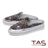 TAS閃耀小熊水鑽穆勒鞋-閃耀黑