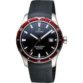 TITONI SEASCOPER海洋探索系列潛水機械錶-黑x紅圈/41mm 83985SRB-RB-517