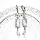 防抗過敏 華麗花朵 方形水滴 長款垂墜耳環-銀 新娘飾品