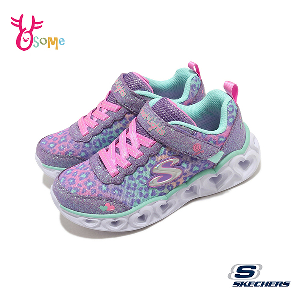 Skechers童鞋 女童電燈鞋 HEART LIGHTS 發光鞋 運動鞋 跑步鞋 輕量止滑 透氣網布 U8238#粉紫◆奧森
