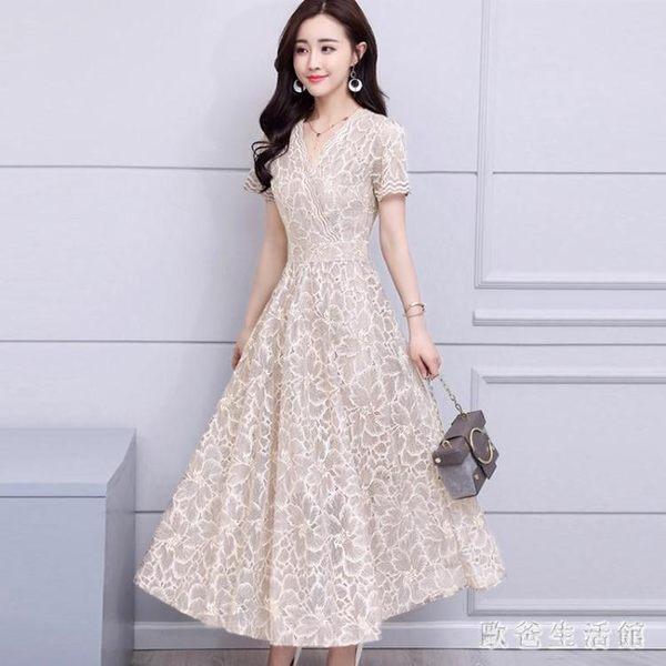 2019新款蕾絲洋裝女裝氣質顯瘦修身裙子中長款短袖V領長裙cp546【歐爸生活館】
