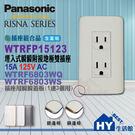 國際牌RISNA系列【WNF15123WK附接地雙插座 + 蓋板WTRF6803WQ(白+銅邊)/ WTRF6803WS(白+銀邊)可選】