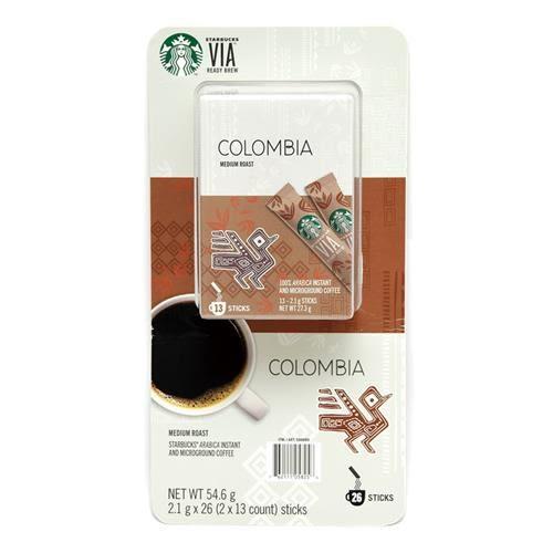 STARBUCKS VIA 哥倫比亞即溶研磨咖啡 2.1公克 X 26 入/組