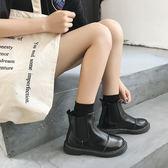 鞋子女英倫風短靴皮面粗跟套腳短筒切爾西靴學院風學生馬丁靴女 9號潮人館