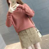 針織衫女高領套頭毛衣寬鬆韓版女裝針織衫打底衫上衣