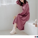 《DA7189-》純色修身打褶收腰綁帶長洋裝 OB嚴選