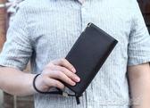 錢包男長款拉鍊錢夾青年男士商務皮夾手包潮手機包手拿包多功能包  【快速出貨】
