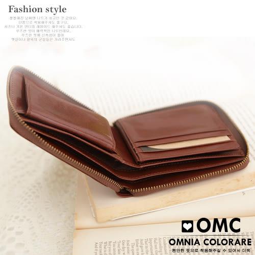 OMC - 時尚精工牛皮原皮拉鍊短夾