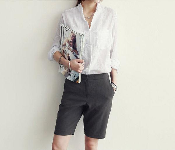 白襯衫棉麻衫 OL素雅棉麻防曬襯衫 艾爾莎【TAK2224】