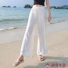 白色亞麻女褲夏季薄款寬鬆棉麻褲垂感寬管褲高腰麻紗長褲子直筒褲【快速出貨】