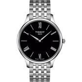 TISSOT天梭 Tradition 羅馬薄型石英錶-黑x銀/39mm T0634091105800