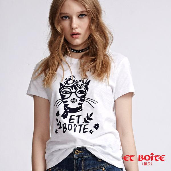 【專櫃新品】ET Amour 蝴蝶結貓咪短袖T恤(白) - BLUE WAY ET BOiTE 箱子